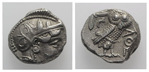 D/ Attica, Athens, c. 454-404 BC. AR Tetradrachm (21mm, 12.88g, 9h). Helmeted head of Athena r. R/ Owl standing r., head facing; olive sprig behind; all within incuse square. For prototype: cf. Kroll 8, SNG Copenhagen 31. Fake for study, VF