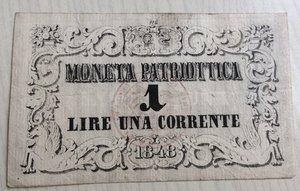 obverse: Italy, Venice. Venezia, Moneta Patriottica 1 Lira, 1848
