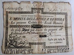 obverse: Italy, Rome (Roma). Papal State, S. Monte della Pieta  di Roma, cedola da Scudi Romani 9, 1796.