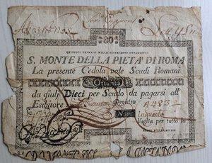 obverse: Italy, Rome (Roma). Papal State, S. Monte della Pieta  di Roma, cedola da Scudi Romani 80, 1798.