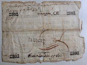 reverse: Italy, Rome (Roma). Papal State, S. Monte della Pieta  di Roma, cedola da Scudi Romani 80, 1798.
