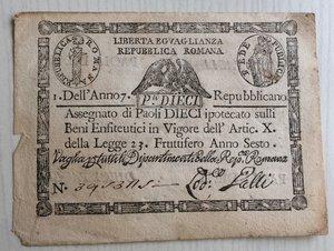obverse: Italy, Rome (Roma). Prima Repubblica Romana 10 Paoli Anno VI (1798)