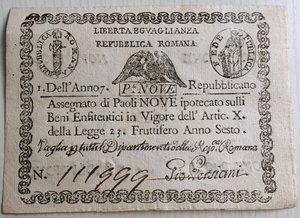 obverse: Italy, Rome (Roma). Prima Repubblica Romana 9 Paoli Anno VII (1798)