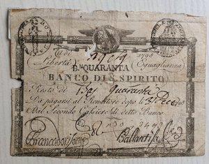 obverse: Italy, Rome (Roma). Prima Repubblica Romana Banco di S. Spirito Baiocchi 40, 1798