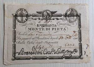 obverse: Italy, Rome (Roma). Prima Repubblica Romana Monte di Pieta  Resto di 60 Baiocchi 1798