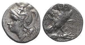 obverse: Southern Apulia, Tarentum, c. 280-272 BC. AR Drachm (15mm, 3.14g, 3h). So-, magistrate. Helmeted head of Athena l. R/ Owl standing r., head facing; ΣΩ to r. Vlasto 1068; HNItaly 1018. About VF