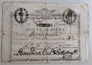 obverse: Italy, Rome (Roma). Prima Repubblica Romana Monte di Pieta  Resto di 50 Baiocchi 1798