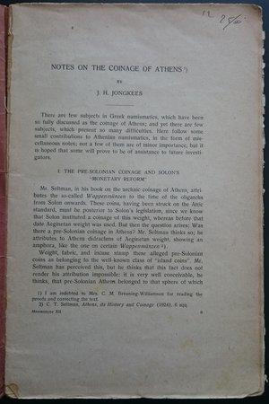 "obverse: Mnemosyne Vol. XII. Bibliotheca Classica Batava. Brill, Leiden 1945. 78pp., tavole B/N. Copertina danneggiata  Tre articoli:      J.H. Jongkees, ""Notes on the Coinage of Athens"";     W.J. Verdenius, ""Platon et la poésie"";     G.J. De Vries, ""ΣEMNOΣ and Cognate Words in Plato"". Mnemosyne Vol. XII. Bibliotheca Classica Batava. Brill, Leiden 1945. 78pp., tavole B/N. Copertina danneggiata  Tre articoli:      J.H. Jongkees, ""Notes on the Coinage of Athens"";     W.J. Verdenius, ""Platon et la poésie"";     G.J. De Vries, ""ΣEMNOΣ and Cognate Words in Plato"". Mnemosyne Vol. XII. Bibliotheca Classica Batava. Brill, Leiden 1945. 78pp., tavole B/N. Copertina danneggiata  Tre articoli:      J.H. Jongkees, ""Notes on the Coinage of Athens"";     W.J. Verdenius, ""Platon et la poésie"";     G.J. De Vries, ""ΣEMNOΣ and Cognate Words in Plato"". Mnemosyne Vol. XII. Bibliotheca Classica Batava. Brill, Leiden 1945. 78pp., tavole B/N. Copertina danneggiata  Tre articoli:      J.H. Jongkees, ""Notes on the Coinage of Athens"";     W.J. Verdenius, ""Platon et la poésie"";     G.J. De Vries, ""ΣEMNOΣ and Cognate Words in Plato"". Mnemosyne Vol. XII. Bibliotheca Classica Batava. Brill, Leiden 1945. 78pp., tavole B/N. Copertina danneggiata  Tre articoli:      J.H. Jongkees, ""Notes on the Coinage of Athens"";     W.J. Verdenius, ""Platon et la poésie"";     G.J. De Vries, ""ΣEMNOΣ and Cognate Words in Plato"". Mnemosyne Vol. XII. Bibliotheca Classica Batava. Brill, Leiden 1945. 78pp., tavole B/N. Copertina danneggiata  Tre articoli:      J.H. Jongkees, ""Notes on the Coinage of Athens"";     W.J. Verdenius, ""Platon et la poésie"";     G.J. De Vries, ""ΣEMNOΣ and Cognate Words in Plato"". Mnemosyne Vol. XII. Bibliotheca Classica Batava. Brill, Leiden 1945. 78pp., tavole B/N. Copertina danneggiata  Tre articoli:      J.H. Jongkees, ""Notes on the Coinage of Athens"";     W.J. Verdenius, ""Platon et la poésie"";     G.J. De Vries, ""ΣEMNOΣ and Cognate Words in Plato"". Mnemosyne Vol. XII. Bibliotheca Classica Bata"