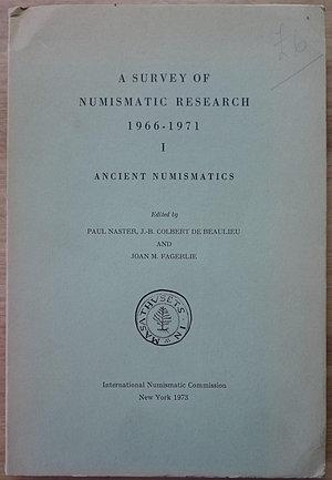 """obverse: Naster P., Colbert de Beaulieu J.-B., Fagerlie J.M., A Survey of Numismatic Research 1966-1971, I - Ancient Numismatics. International Numismatic Commission, New York 1973. Brossura editoriale, 18 articoli, 372pp., testo inglese, francese e tedesco. Ottime condizioni  • Greek: Miriam S. Balmuth, """"Origins of Coinage"""". • Attilio Stazio, """"Magna Graecia"""". • Christof F. Boehringer, """"Sizilie, Sardinien, Malta"""". • Tony Hackens, """"La Grece, les regions balkaniques et le littoral septentrional du Pont Euxin"""". • Paul Naster, """"Asie Mineure, Mesopotamie, Iran et Inde"""". • Ulla Westermark, """"Syria, Phoenicia and Palestine"""". • G.K. Jenkins, """"Egypt and North Africa"""". • G.K. Jenkins, """"The Iberian Peninsula"""". • Martin J. Price, """"Greek Coins under the Roman Empire"""". • Celtic: Derek F. Allen, """"British Isles"""". • Jean-Claude Richard, """"La Gaule narbonnaise et la peninsula iberique"""". • J.-B. Colbert de Beaulieu, """"Schweiz, Bundesrepublik Deutschland, Deutschen Demokratischen Republik und Osterreich"""". • Simone Scheers, """"Beligique"""". • Lucien Reding, """"Luxenbourg"""". • Roman: Michael H. Crawford, """"Roman Republican Numismatics"""". • J.-C. Jean-Baptiste Giard, """"L'Empire romain d'Auguste a 284 apres"""". • J.P.C. Kent, """"The Later Roman Empire, A.D. 284-491"""".Naster P., Colbert de Beaulieu J.-B., Fagerlie J.M., A Survey of Numismatic Research 1966-1971, I - Ancient Numismatics. International Numismatic Commission, New York 1973. Brossura editoriale, 18 articoli, 372pp., testo inglese, francese e tedesco. Ottime condizioni  • Greek: Miriam S. Balmuth, """"Origins of Coinage"""". • Attilio Stazio, """"Magna Graecia"""". • Christof F. Boehringer, """"Sizilie, Sardinien, Malta"""". • Tony Hackens, """"La Grece, les regions balkaniques et le littoral septentrional du Pont Euxin"""". • Paul Naster, """"Asie Mineure, Mesopotamie, Iran et Inde"""". • Ulla Westermark, """"Syria, Phoenicia and Palestine"""". • G.K. Jenkins, """"Egypt and North Africa"""". • G.K. Jenkins, """"The Iberian Peninsula"""". • Martin J. Price, """"Greek Coins under the Roman Empire"""""""