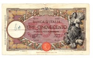 obverse: Lire 500 1937 - Mietitrice. NC. BB++.