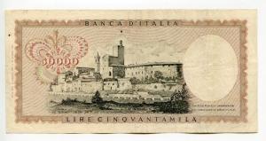 """reverse: Lire 50.000 del 1970 """"Leonardo"""". BB/SPL. R2. Con sua PERIZIA inclusa."""