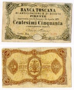 obverse: Banca Toscana. Firenze. 50 Centesimi Cinquanta del 1870. Molto circolata ma sempre molto affascinante.