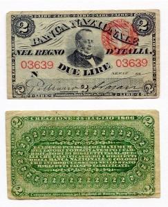 obverse: Regno d Italia. Duel Lire del 1866. qBB. Rara! Circolata ma in conservazione discreta!