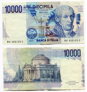 obverse: Lire 10.000 del 1985. A. Volta. Presenti un paio di pieghe ma banconota SPL/SUP.