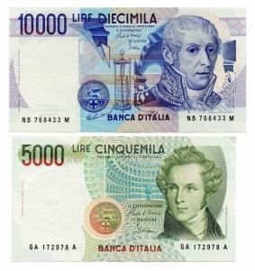 """obverse: LOT. LIRE 10.000 del 1985 """"Volta"""" + LIRE 5.000 del 1985 """"Bellini"""". Segni di circolazione ma splendide entrambe!"""