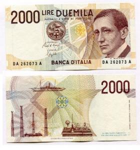 obverse: Lire 2.000 del 1990. G. Marconi. Presenti lievi peghe centrali ma banconota SUP/FDS.