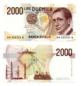 """obverse: ITALIA. LIRE 2.000. """"G. Marconi"""". 1990. FDS."""