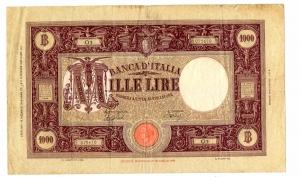 obverse: Lire 1.000 12/12/1942. Barbetti - modificato fascio II. Rara. BB/SPL.