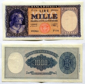 obverse: Italia. Lit. 1.000 (Testina) del 10 febbraio del 1948. La banconota ha solo una piega centrale, per il resto ha una conservazione superba se non oltre. R1.