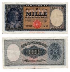 """obverse: ITALIA. LIRE 1000. """"Medusa"""". 25 sett. Del 1961. la banconota presenta leggeri segni forse di circolazione, qualche leggerissima pieghetta ai bordi. La carta è fresca e semplicemente stupenda! Davvero una bella banconota! Vedi comunque foto per tutti i dettagli!"""