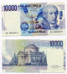 """obverse: Lire 10.000 del 1997 """"Volta"""". FDS. Pieghetta/ondulazione al dritto a sinistra."""