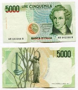 """obverse: Lire 5.000 del 1988 """"Bellini"""". Leggere Pieghe ma più che splendida."""