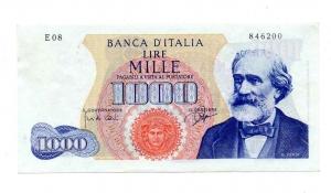 "obverse: Lire 1.000. ""Giuseppe Verdi – 1° Tipo"". 1962. FDS."