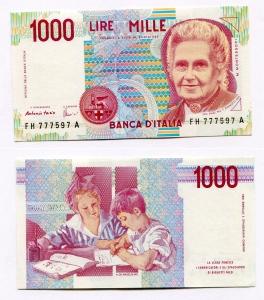 obverse: Lire 1.000 del 1998. Montessori. FDS.