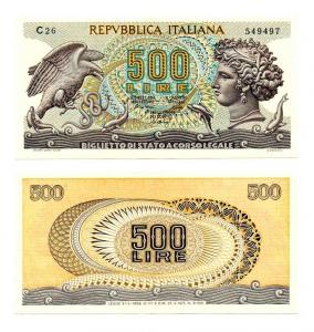 """obverse: ITALIA. LIRE 500. """"Aretusa"""". 1975. SUP-FDS. Serie C26. R2."""