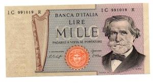 "obverse: Lire 1.000. ""Giuseppe Verdi – 2° Tipo"". 1977. qFDS."