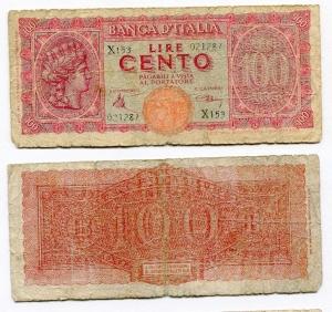 obverse: Lire 100 del 1944. Italia Turrita. MB-.