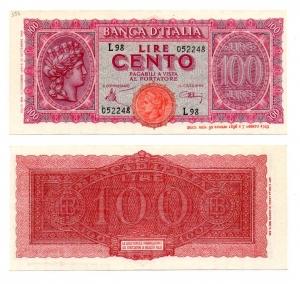 """obverse: ITALIA. LIRE 100. """"Italia Turrita"""". 1944. FDS. Scritte a matita in angolo sx in alto. Da vecchia collezione."""