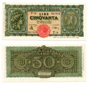 """obverse: ITALIA. LIRE 50. """"Italia Turrita"""". 1944. FDS. Scritte a matita in angolo sx in alto. Da vecchia collezione."""