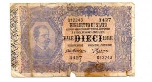 obverse: Regno d Italia. Vitt. Em 3°. Lire 10 del 1917. MB.