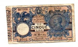 obverse: Regno d Italia. Vitt. Em 3°. Lire 5 del 1914. qBB.