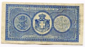 reverse: Regno d Italia. Umberto I. Buoni di Cassa. Lire 1 del 1894. qSPL. RR/R2.