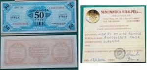obverse: Occupazione Americana in Italia. 50 AM Lire 1943 A. SUP. Con perizia.