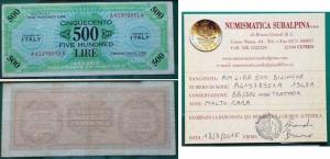 D/ Occupazione Americana in Italia. 500 AM Lire 1943 A. BB/SPL. R1. Non trattata. Con perizia.