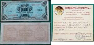 D/ Occupazione Americana in Italia. 1.000 AM Lire 1943 A. SUP. R1. Non trattata. Con perizia.