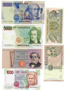 """D/ LOT. LIRE 10.000 del 1988 """"Volta"""" - LIRE 5.000 del 1996 """"Bellini"""" + LIRE 1.000 del 1973 """"Verdi"""" + LIRE 1.000 del 1993 """"Montessori"""" + LIRE. 1000 del 1988 """"Marco Polo"""" + LIRE 500 del 1970 """"Aretusa"""". Circolate, varie conservazioni. Vedi foto per tutti i dettagli."""