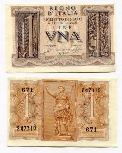 D/ R.I. Vitt. Em. 3° - ITALIA. LIRE 1. 1939. FDS.