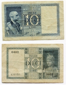 D/ R.I. Vitt. Em. 3°. Lire 10 1939. Discreta.