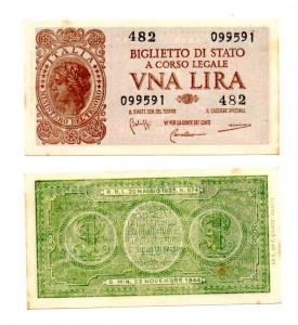 D/ ITALIA. LIRE 1. 1944. FDS con macchioline.