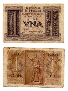 D/ ITALIA. LIRE 1. 1939. Discreta.