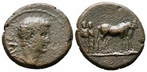 obverse: AUGUSTO (27 a.C. - 14 +), Macedonia, Philippi. AE Bronzo (18 mm. - 4,62 gr.). MB. R1.