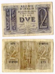 D/ R.I. Vitt. Em. 3°. Lire 2 1939. Discreta.