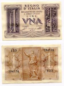 D/ R.I. Vitt. Em. 3°. Lire 1 1939. Discreta.
