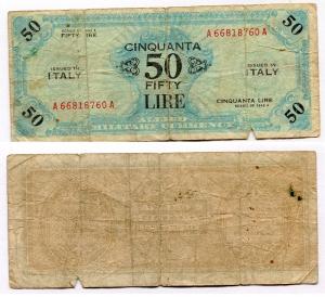 D/ Occupazione Americana in Italia. 50 AM Lire 1943 A. MB.