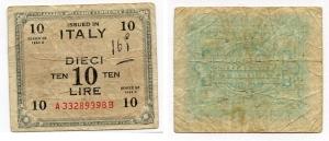 D/ Occupazione Americana in Italia. 10 AM Lire 1943 A. Quasi Discreta.