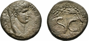obverse: CLAUDIO (41-54). Antiochia. AE 26 (14,22 gr.). D.\: Laureate head right. R.\: Large S C within circle; pellet on circle to upper right; all within wreath. McAlee 245a; RPC I 4277. qBB. NC.